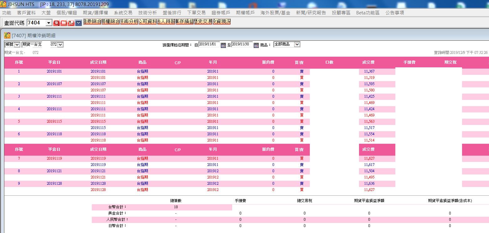 台指當沖程式V4ex2.0 完整11月對帳單明細