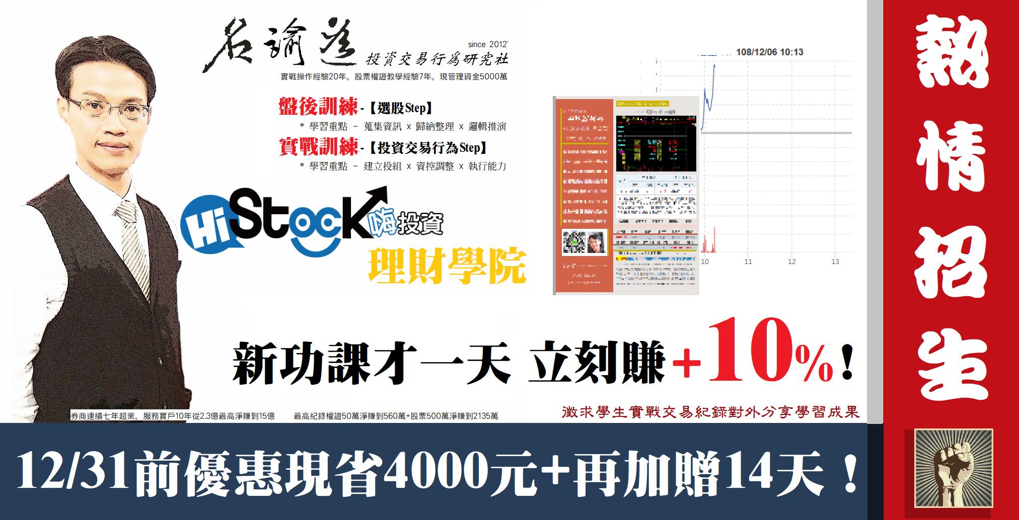 2019/12/06(五) 新功課才一天,立刻賺+10%!(徵求學生交易紀錄對外分享學習成果)