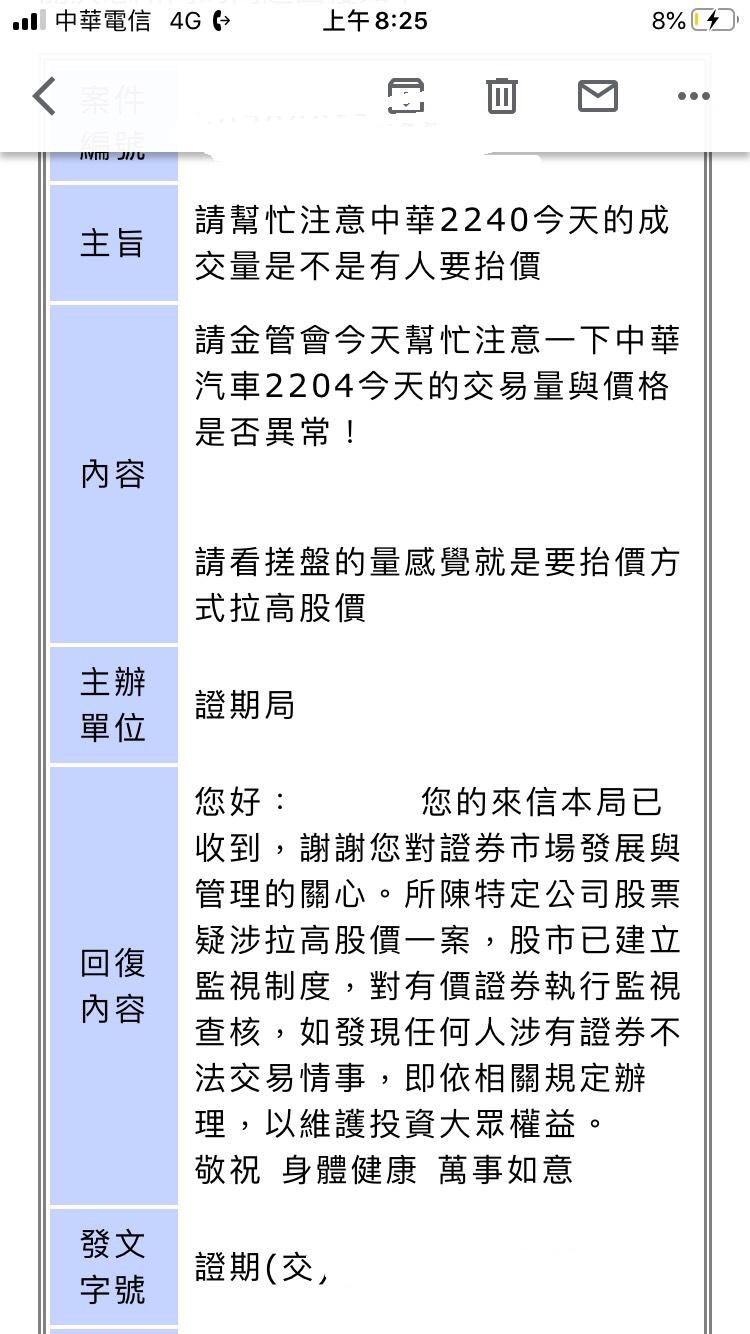 注意!2204中華外資抬價!已向金管會檢舉中
