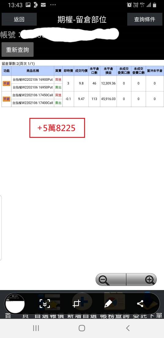 價差單狂賺305萬  16900P以下與17200C以上如期全數歸0_13