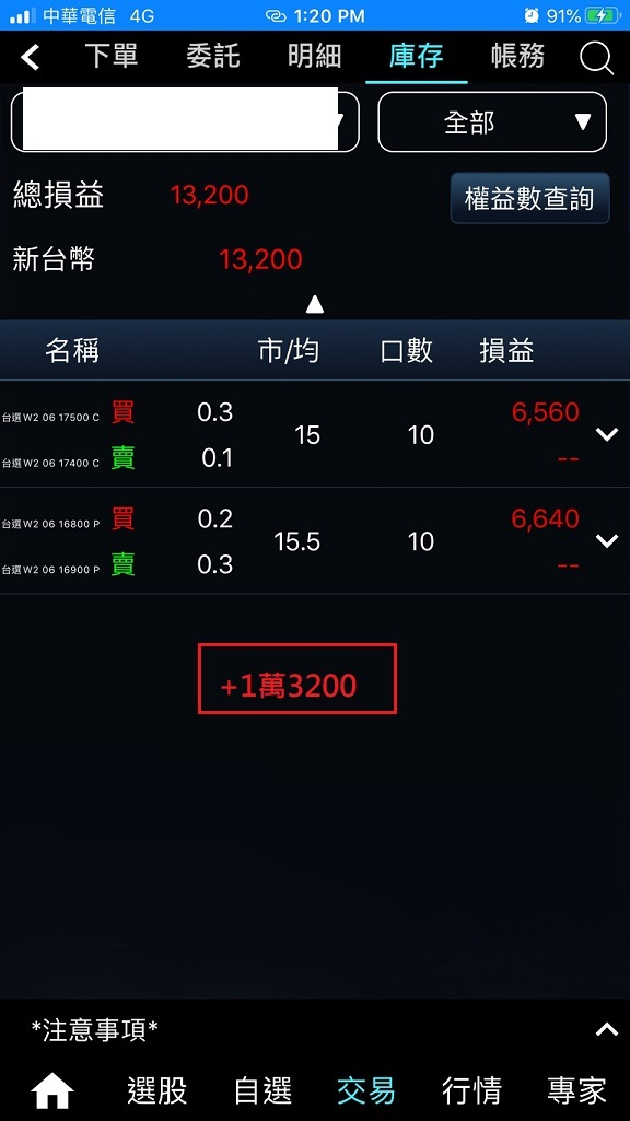 價差單狂賺305萬  16900P以下與17200C以上如期全數歸0_22