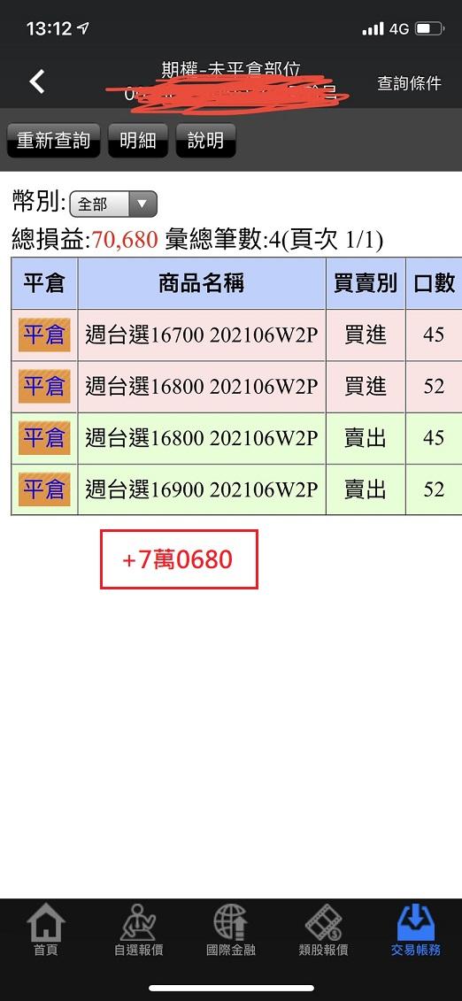 價差單狂賺305萬  16900P以下與17200C以上如期全數歸0_11
