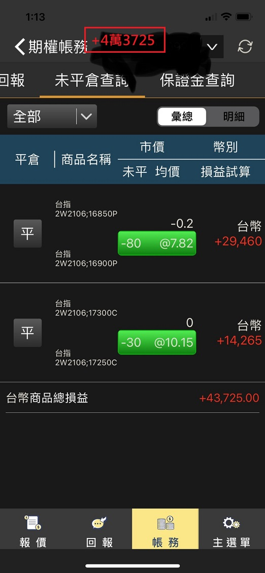 價差單狂賺305萬  16900P以下與17200C以上如期全數歸0_17